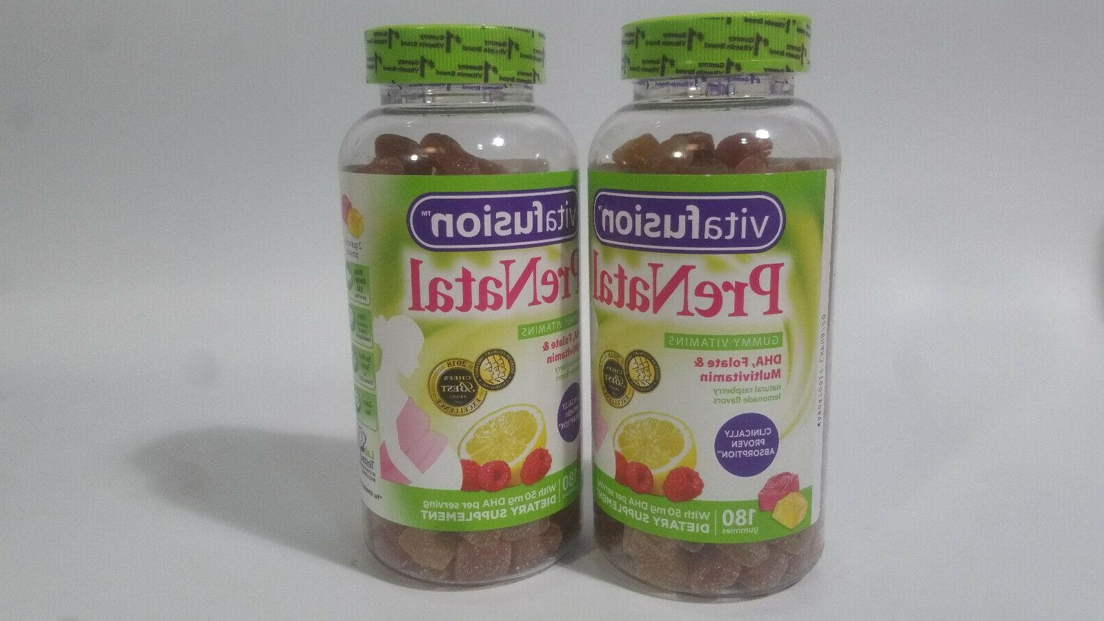 2 bottles prenatal dha folate gummy vitamins